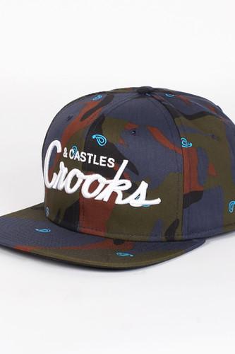 Бейсболка CROOKS & CASTLES Team Crooks Snapback (Indigo-Camo, O/S) кардиган crooks