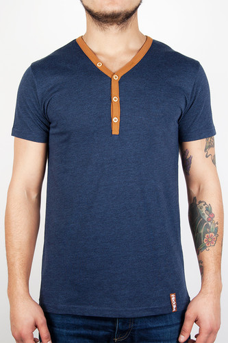 Футболка IRIEDAILY Clerk Contrast Neck Tee (Night Sky-719, L) men contrast neck tee