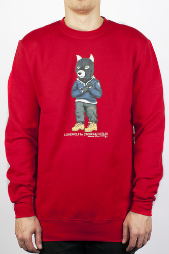 Толстовка CROOKS & CASTLES Crook Wolf Crew (True Red, S)