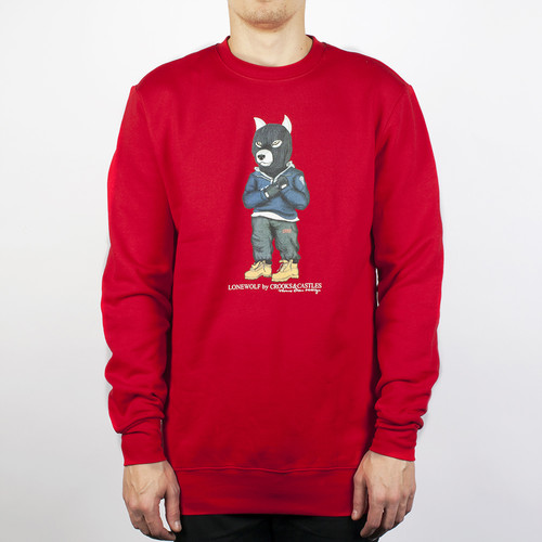 Толстовка CROOKS & CASTLES Crook Wolf Crew (True Red, S) white rabbit red wolf