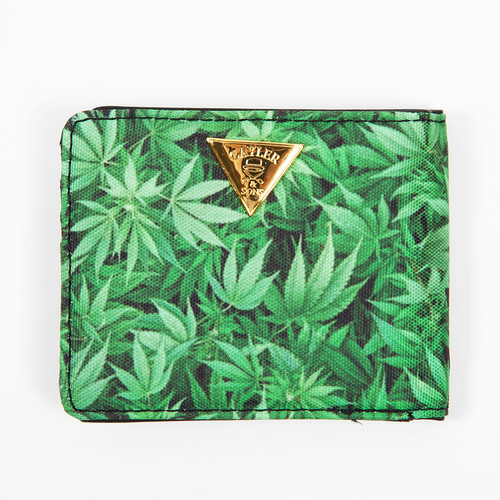 Кошелек CAYLER & SONS Kush Wallet (Green Leaves/Brown Leather/Gold)