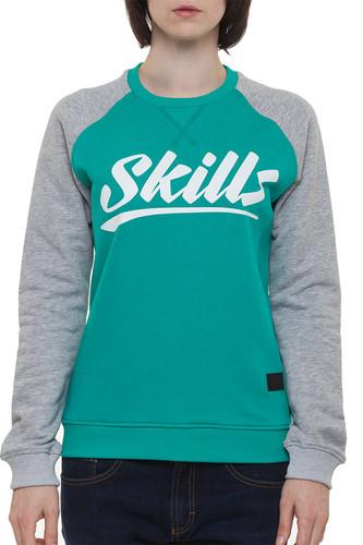 Толстовка SKILLS W Script Logo 4 Crewneck (Emerald/Grey Melange, L) цена