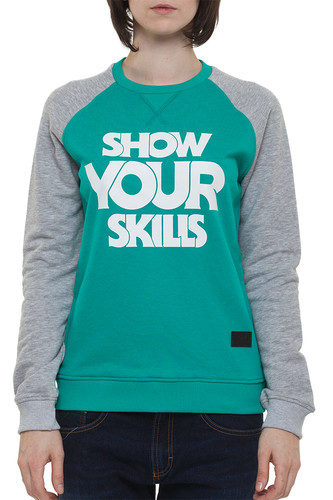 Толстовка SKILLS W Show You Skills Crewneck (Emerald/Grey Melange, L)