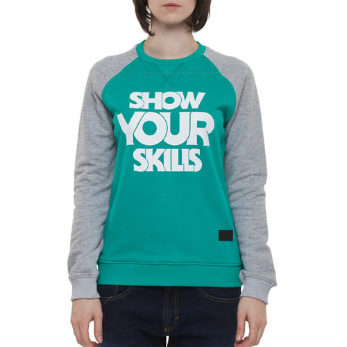 Толстовка SKILLS W Show You Skills Crewneck (Emerald/Grey Melange, L) толстовка skills w script logo 3 crewneck blue grey melange l