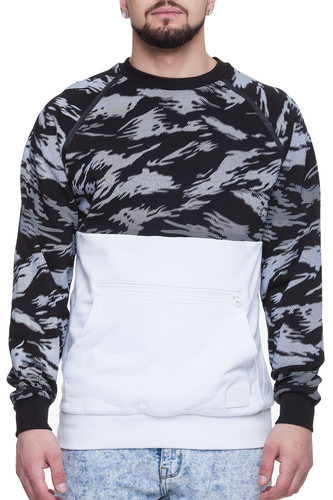 Толстовка CROOKS & CASTLES Cr-Nack Knit Sweatshirt (Black Multi/White, L)