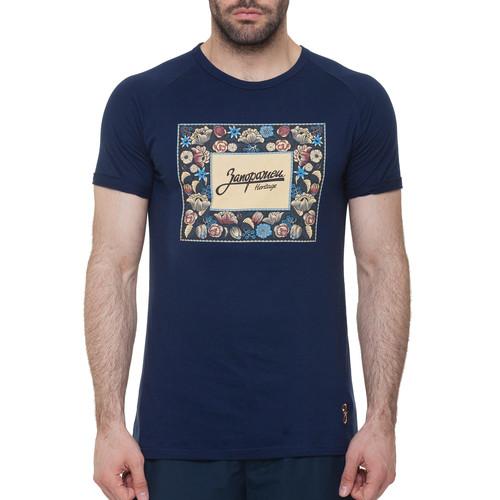 Футболка ЗАПОРОЖЕЦ Цветочки (Синий, XL) футболка запорожец вязальная темно синий 2xl