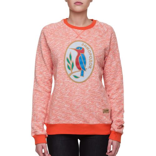 Толстовка ЗАПОРОЖЕЦ Зимородок женская (Оранжевый Меланж, L) толстовка запорожец лого 2v женская кремовый меланж нопэ l
