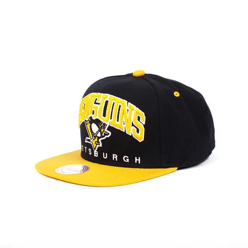 Бейсболка MITCHELL&NESS Pittsburgh Penguins Nuarc Snapback EU085 (Black, O/S)