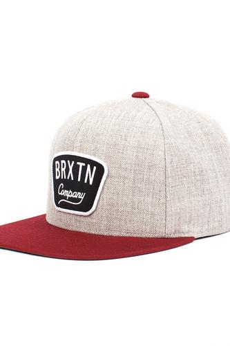 Бейсболка BRIXTON Gaston Snapback (Light Heather Grey/Burgundy-0375, O/S) бейсболка brixton gaston snapback light heather grey burgundy 0375 o s