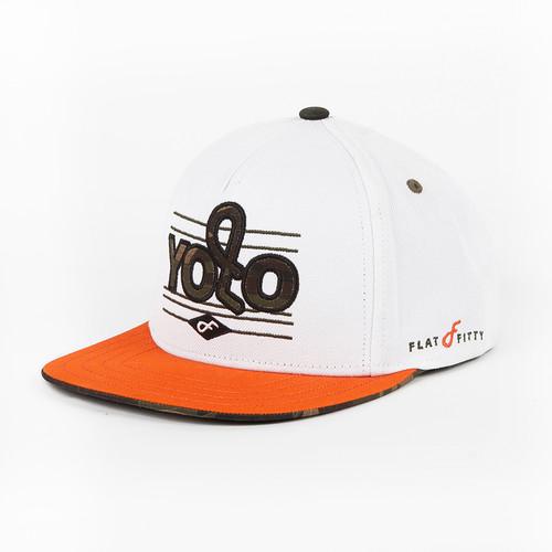 Бейсболка FLAT FITTY Yolo (White-Camo-Orange-FF-94700, O/S)