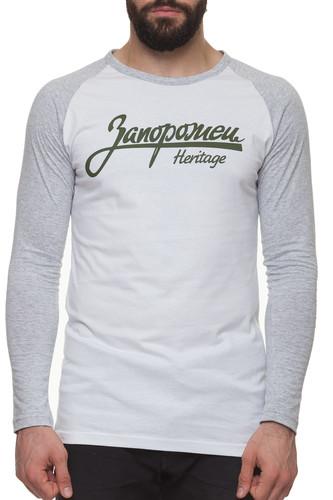 Лонгслив ЗАПОРОЖЕЦ Лого (Белый/Серый, XL) лонгслив запорожец спорт серый черный xs