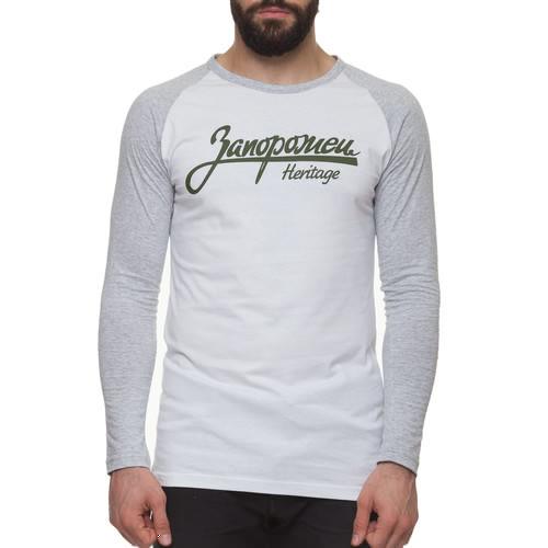 Лонгслив ЗАПОРОЖЕЦ Лого (Белый/Серый, XL) цена и фото