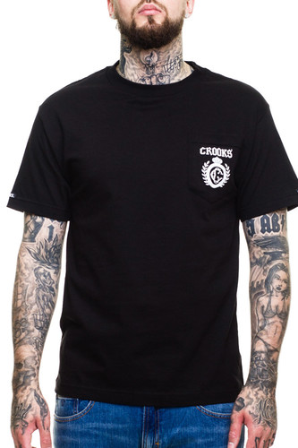 Фото - Футболка CROOKS & CASTLES Wired Pocket T-Shirt (Black, XL) plus size front pocket striped asymmetric tunic t shirt