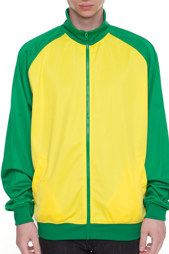 Олимпийка URBAN CLASSICS Sports Track Jacket Raglan (Green/Yellow, 2XL)
