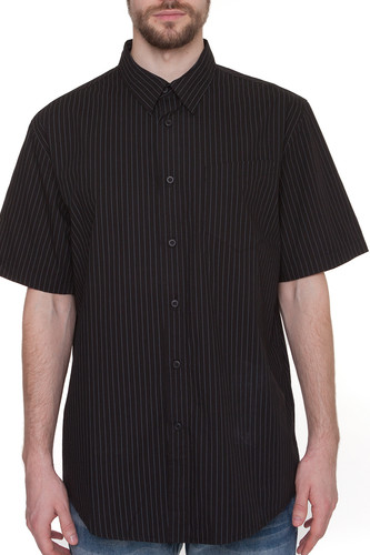 цена на Рубашка URBAN CLASSICS Pinstripe Shortsleeve Shirt (Black, XL)
