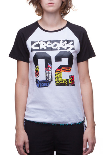 Футболка CROOKS & CASTLES W All City Baseball T-Shirt (White/Black, M)