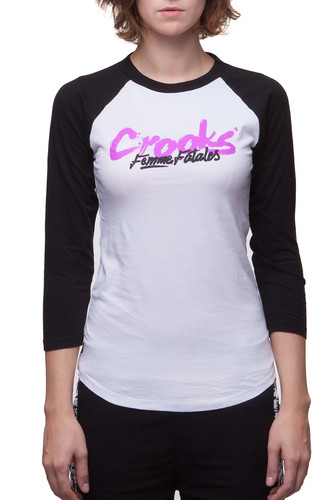 Лонгслив CROOKS & CASTLES W Outlaw Girls Baseball Raglan (White/Black, S)
