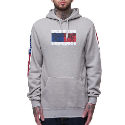 Толстовка CROOKS & CASTLES Thomas Crown Hooded Pullover (Heather Grey, L) grey embroidered pullover sports hoodies