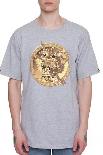 Футболка CROOKS & CASTLES Gold Plated Medusa Crew T-Shirt (Heahter Grey-2, XL)