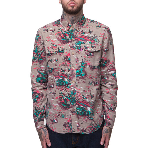 Рубашка MISHKA Duck Hunt Button Up (Tan, L) embroidered button up dip hem blouse