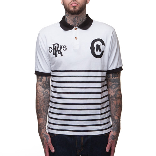 Поло CROOKS & CASTLES Knit Polo Top (White/Black, S)
