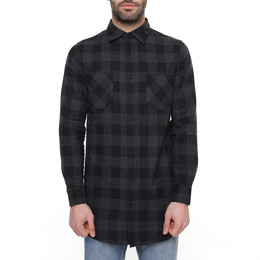 Рубашка URBAN CLASSICS Long Checked Flanell Shirt Black/Charcoal фото