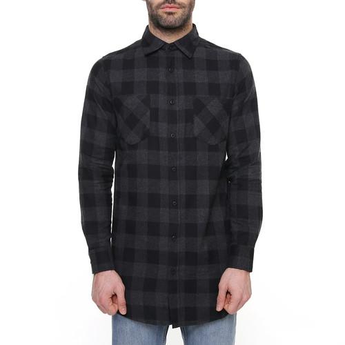 Рубашка URBAN CLASSICS Long Checked Flanell Shirt (Black/Charcoal, L) стоимость