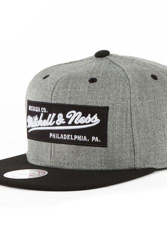 Бейсболка MITCHELL&NESS Box Logo M&N Own Snapback NE18Z (Grey Heather/Black, O/S) бейсболка brixton gaston snapback light heather grey burgundy 0375 o s