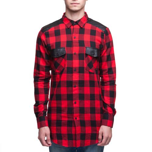 купить Рубашка URBAN CLASSICS Side Zip Leather Shoulder Flanell Shirt (Black/Red, XL) по цене 2093 рублей