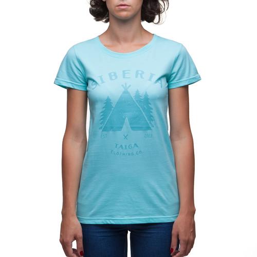 Футболка ТАЙГА Native женская (Бирюзовый, S) футболка женская columbia elevated ss tee t shirt цвет бирюзовый 1663131 341 размер s 44