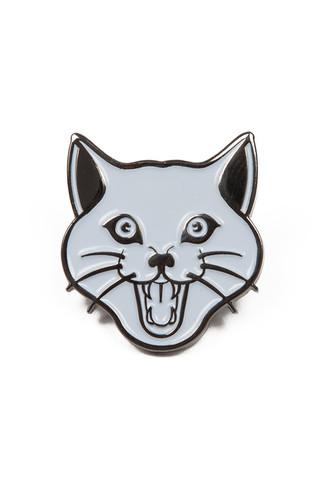 Значок BREATHE OUT Cat Face White Pin (Белый/Черный)