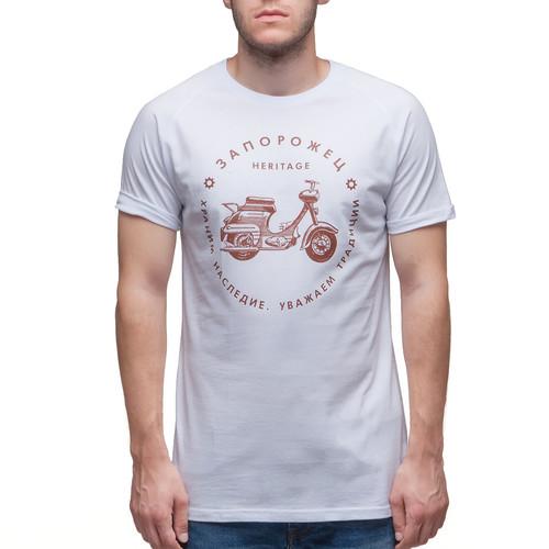 Футболка ЗАПОРОЖЕЦ Мотороллер (Белый, XL)