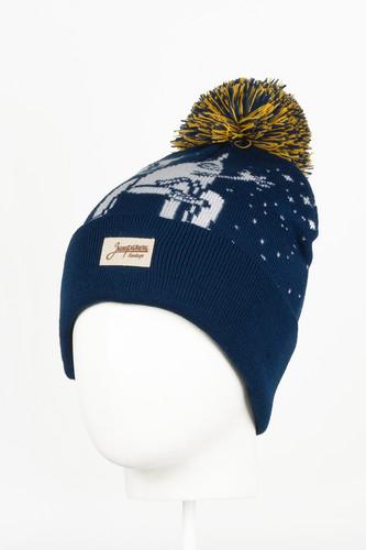 Шапка с помпоном ЗАПОРОЖЕЦ К Звездам (Navy/White) шапка с помпоном запорожец узор 1 blue white