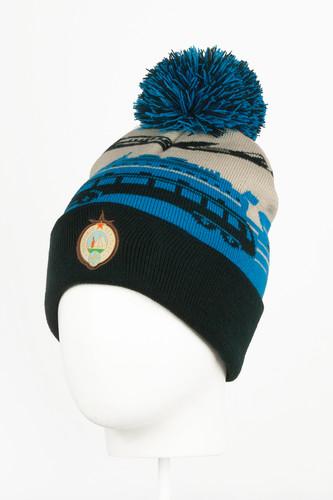 Шапка с помпоном ЗАПОРОЖЕЦ Транспорт (Dark Blue) шапка с помпоном запорожец узор 1 blue white