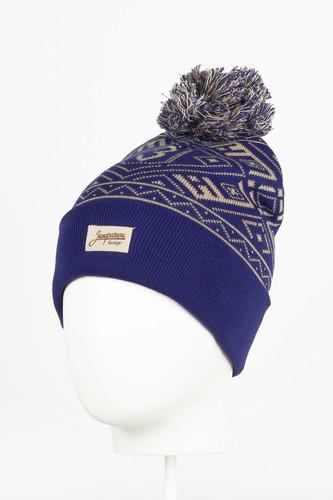 Шапка с помпоном ЗАПОРОЖЕЦ Узор (Blue) шапка с помпоном запорожец узор 1 blue white