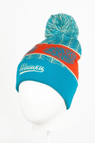 Шапка с помпоном ЗАПОРОЖЕЦ Шишки (Blue/Orange) шапка с помпоном запорожец узор 1 blue white