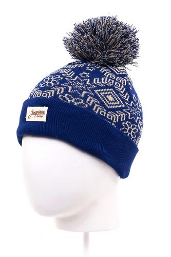 Шапка с помпоном детская ЗАПОРОЖЕЦ Карпаты (Blue-6-12) шапка с помпоном запорожец узор 1 blue white
