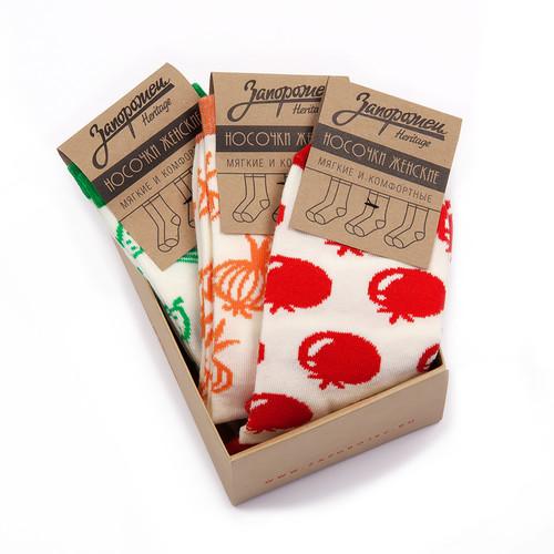 Носки ЗАПОРОЖЕЦ Комплект Овощи женский (Белый/Красный-Белый/Зеленый-Белый/Оранжевый-3 пары, O/S) цены онлайн