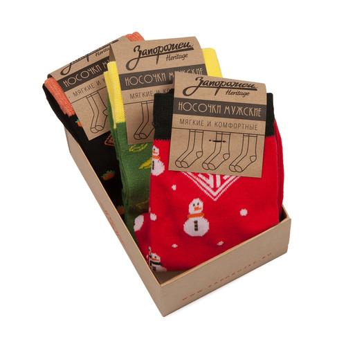 Носки ЗАПОРОЖЕЦ Комплект Новогодний (Черный-Зеленый-Красный-3 пары, O/S) griff b1 2 комплект из 3 пар