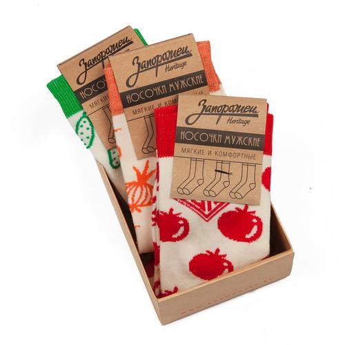 Носки ЗАПОРОЖЕЦ Комплект Овощи (Белый/Красный-Белый/Зеленый-Белый/Оранжевый-3 пары, O/S)