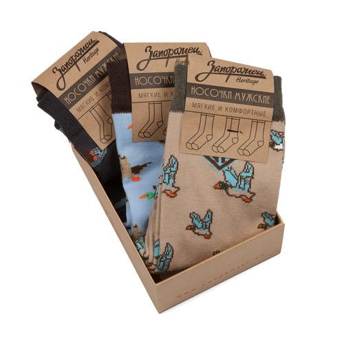 Носки ЗАПОРОЖЕЦ Комплект Утки (Голубой-Бежевый-Темно-синий-3 пары, O/S) griff b1 2 комплект из 3 пар