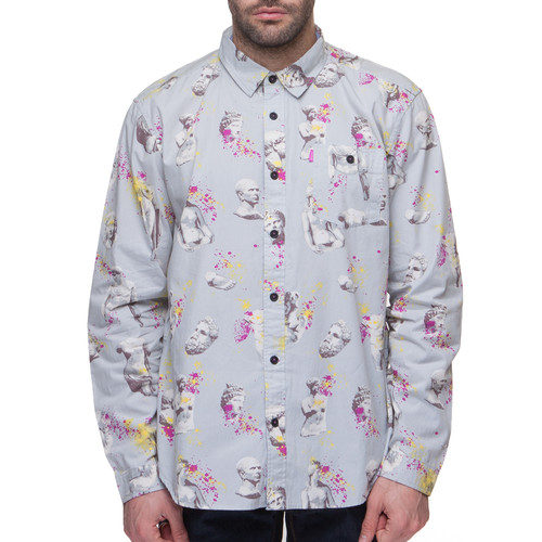 Рубашка MISHKA Ruins Button UP (Light Grey, L) embroidered button up dip hem blouse