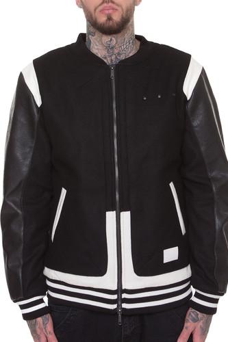 Куртка CROOKS & CASTLES Challenger Varsity Jacket (Black-White, L)