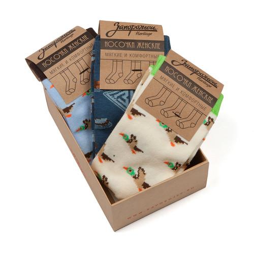Носки ЗАПОРОЖЕЦ Комплект Утки женские (Кремовый/Салатовый-Голубой-Джинс-3 пары, O/S)