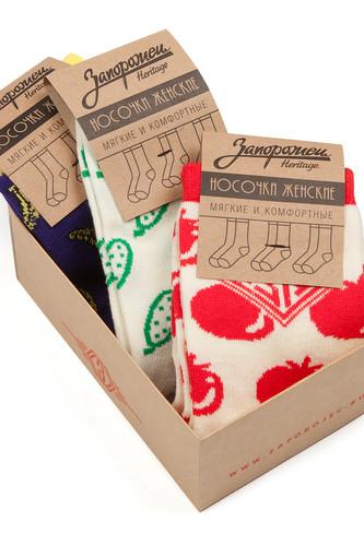 Носки ЗАПОРОЖЕЦ Комплект Вегетарианский женские (Белый/Красный-Белый/Зеленый-Фиолетовый-3 пары, O/S)