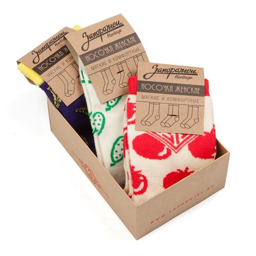 Носки ЗАПОРОЖЕЦ Комплект Вегетарианский женские (Белый/Красный-Белый/Зеленый-Фиолетовый-3 пары, O/S) цены онлайн