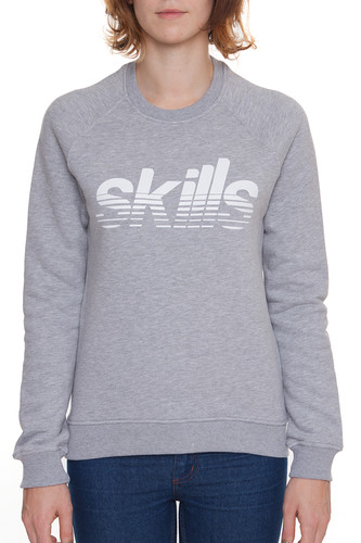 Толстовка SKILLS Stripes женская (Серый Меланж, XS) толстовка женская mustang printed hoodie цвет серый 1006344 4141 размер xs 42