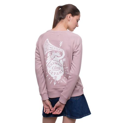 Толстовка MEDOOZA Сердце женская (Грязно-Розовый, L) цены онлайн