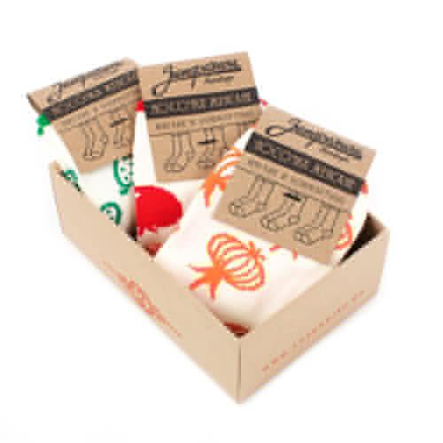 Носки ЗАПОРОЖЕЦ Комплект Витамины женские (Белый/Зеленый-Белый/Оранжевый-Белый/Красный-3 пары, O/S)