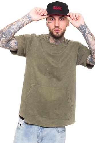 Футболка CROOKS & CASTLES Angler Crew T-Shirt (Faded Olive, XL)
